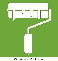 verf , groene, rol, pictogram