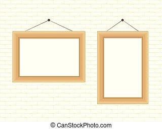 verf, houten, fotokader, of, realistisch, hangend, witte baksteen, muur