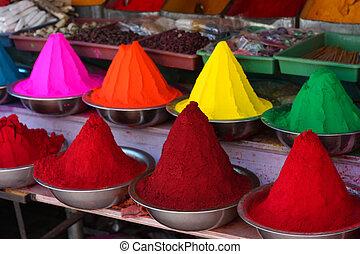 verf , kleuren, in, india