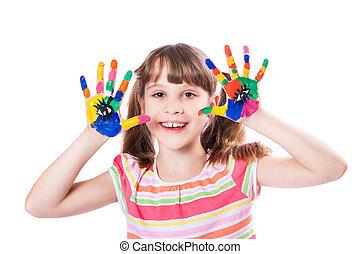 verf , meisje, handen