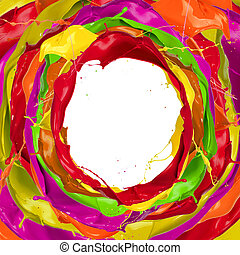 verf , plonsen, cirkel, met, kosteloos, ruimte, voor, tekst