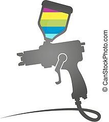 verf , symbool, pistool