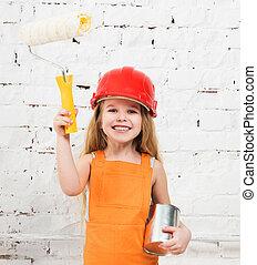 verf , weinig; niet zo(veel), rol, girl-worker, handen