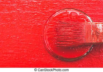 verf , works., girls., paint., borstel, schilderij, rood, plank