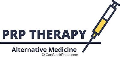 verfahren, concept., hintergrund., spritze, sorgfalt, medizinprodukt, prp, logo, kosmetologie, alternative, weißes, therapie, gesichtsbehandlung
