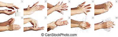 verfahren, wäsche, hand, korrekt, treten