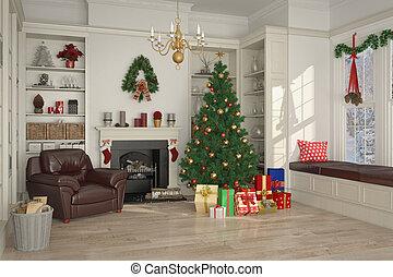 verfraaide, 3d, -, kerstmis dag