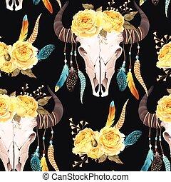 verfraaide, bloemen, buffel, seamless, schedel