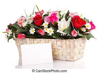 verfraaide, bloemen, mand