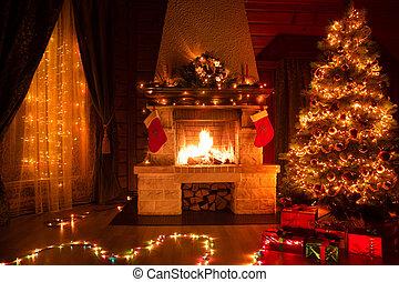 verfraaide, boompje, kerstmis, kerstmis, openhaard, interieur, venster