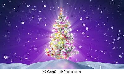 verfraaide, boompje, kerstmis, loopable, nacht