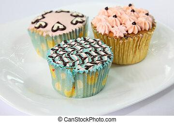 verfraaide, cupcakes, zich verbeelden