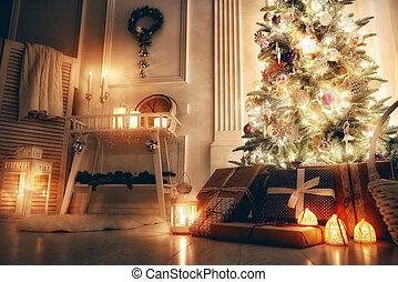 verfraaide, kamer, kerstmis