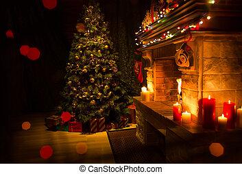 verfraaide, kerstboom, kerstmis, openhaard, interieur