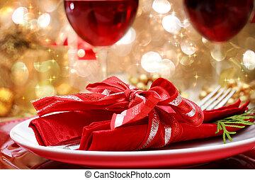 verfraaide, kerstdiner, tafel