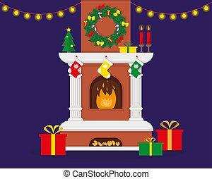 verfraaide, kerstmis, openhaard