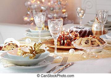 verfraaide, kerstmis, tafel
