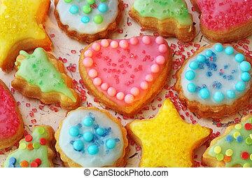 verfraaide, koekjes, kleurrijke