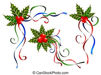 verfraaide, linten, kerstmis
