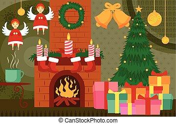 verfraaide, openhaard, kerstmis, nacht