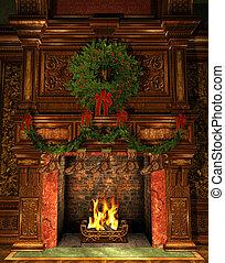 verfraaide, openhaard, kerstmis