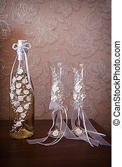 verfraaide, trouwfeest, bril, en, fles champagne