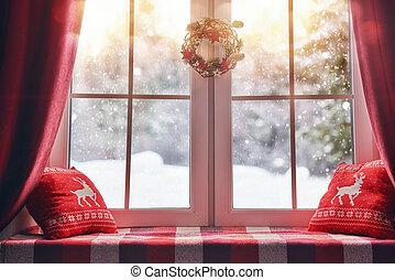 verfraaide, venster, kerstmis