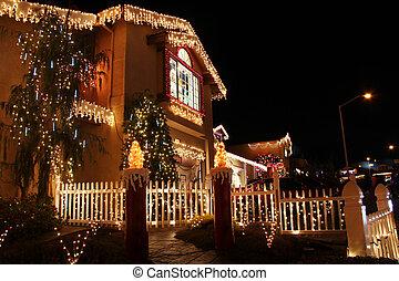 verfraaide, woning, met, christmas lights
