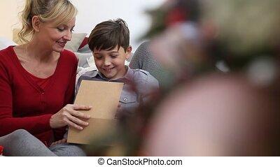 verfraaide, woonkamer, gezin, zittende , vrolijke , kus, verlicht, boompje, zoon, kerstmis, thuis, het bezorgen dank, vrolijk, cadeau, mamma, kerstmis
