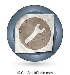 verfrommeld, abstract, donker, papier, moersleutel, pictogram