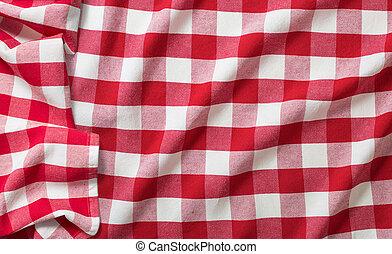 verfrommeld, checkered, picknick, tafelkleed, rood