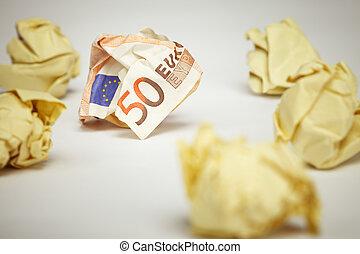 verfrommeld, eurobiljet