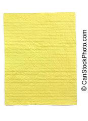 verfrommeld, gele, gelijnd papier