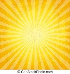 verfrommeld, gele, zonnestraal, achtergrond