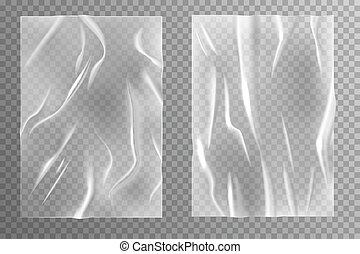 verfrommeld, gelijmde, poster, paper., realistisch, vector, plastic, lege bladen, textuur, transparant, mal, nat, rimpelig, creasy, kreukelig