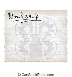 verfrommeld, hand, screwdriver., geschreven, workshop, papier, woorden, lined, tandwielen