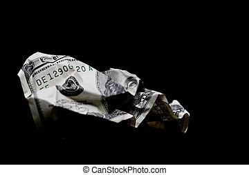 verfrommeld, honderd dollar rekening