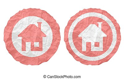 verfrommeld, iconen, twee, textuur, papier, thuis, pictogram