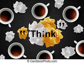 verfrommeld, koffie, papieren
