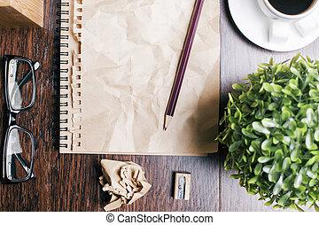 verfrommeld, notepad, pagina, closeup