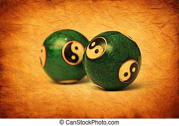 verfrommeld, oud, yang, kunstwerk, balls., ying, perkament