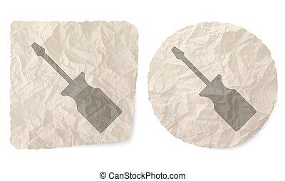 verfrommeld papier, schroevendraaier, slip