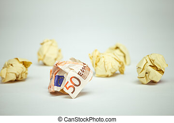 verfrommeld, rekening, eurobiljet