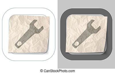 verfrommeld, set, iconen, twee, papier, moersleutel