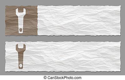 verfrommeld, set, twee, papier, moersleutel, banieren