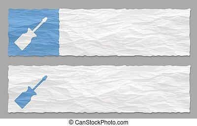 verfrommeld, set, twee, schroevendraaier, papier, banieren