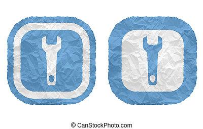 verfrommeld, twee, textuur, lijstjes, papier, moersleutel