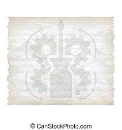 verfrommeld, vector, schroevendraaier, papier, lined, tandwielen