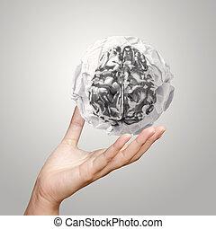 verfrommeld, zakenman, papier, metaal, hersenen, het tonen, menselijke hand, 3d
