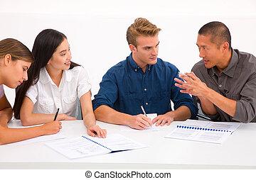 vergadering, anders, groep, zakenlui
